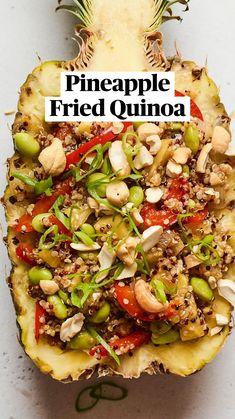 Vegan Dinner Recipes, Good Healthy Recipes, Free Recipes, Fried Quinoa, Fried Rice, Recipe Using Quinoa, Healthy Weeknight Dinners, Roasted Cashews, Chili Garlic Sauce