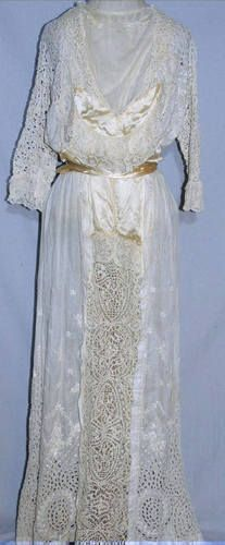 Edwardian Elaborate Lace Embroidered Eyelet Tea Dress