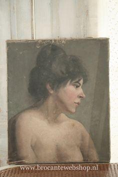 Antiek frans schilderij | - Spiegels, lijstjes, schilderijen | Brocante Webshop