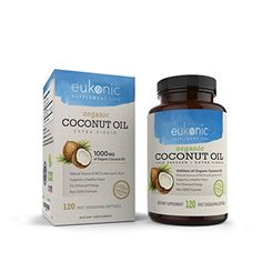 Organic Coconut Oil Capsules Extra Virgin 1000 mg by Eukonic 120 Softgels Weight Loss Supports Healthy Diet Healthy Cholesterol Levels NonGMO Made in USA Party Tested ** Find out more about the great product at the image link. Coconut Oil Pills, Best Coconut Oil, Coconut Oil For Dogs, Coconut Oil Pulling, Benefits Of Coconut Oil, Coconut Oil For Skin, Organic Coconut Oil, Supplements To Lower Cholesterol, Healthy Cholesterol Levels