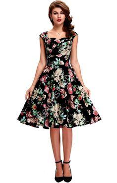 Bawełniana sukienka pin-up czarna w kolorowe  kwiaty, swingdress