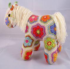 #crochet african flower pony pattern by Heidi Bears