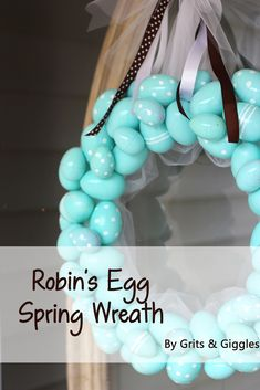 Robins Egg Spring Wreath Tutorial by Grits Giggles Spring Crafts, Holiday Crafts, Holiday Fun, Holiday Ideas, Plastic Easter Eggs, Easter Egg Crafts, Easter Decor, Easter Stuff, Wreath Crafts