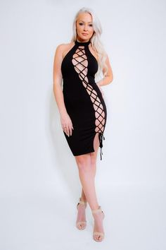 TIE ME UP Black Lace-Up Dress