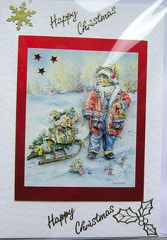 Happy Christmas HandCrafted 3D Decoupage Card  by SunnyCrystals, Winter Paintbox Poppets