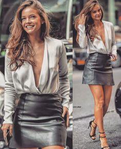 Looks com Saia de Couro: Como Usar e Combinar com Estilo - Greta - Looks com Saia de Couro: Como Usar e Combinar com Estilo Look com Saia de Couro - Petite Fashion, Urban Fashion, Classy Outfits, Stylish Outfits, Fashion Outfits, Womens Fashion, Mode Blake Lively, Vetement Fashion, Black Leather Skirts