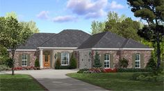 Home Plan HOMEPW77620 - 1600 Square Foot, 3 Bedroom 2 Bathroom Ranch Home with 2 Garage Bays | Homeplans.com