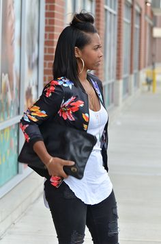 Fall Outfit Idea, Black Jeans, Bomber Jacket, Fall Sweenee Style Source by outfits classy Black Girl Fashion, Look Fashion, Autumn Fashion, Fashion Outfits, Womens Fashion, Nike Fashion, Fashion Clothes, Fashion Fashion, Cute Casual Outfits