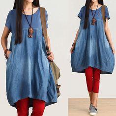 Blue casual cotton denim dress / round neck short por dreamyil, $108.00