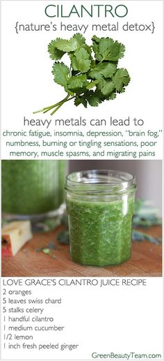 Cilantro juice for metal detox