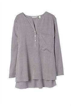 Collarless Stripe Shirt