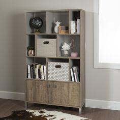 South Shore Furniture Expoz Grey/White/Weathered Laminate 9-cube Shelving Unit with Doors. Overstock.com
