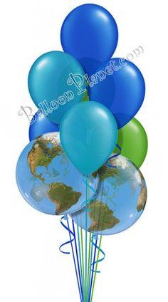 Earth Day Colors Balloon Bouquet 9 Balloons