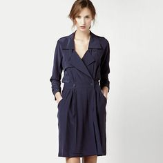 LACOSTE 3/4 Sleeve Crepe Silk Trench Dress in Navy Size 6/38 - $150.00
