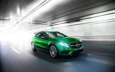 Download wallpapers Mercedes-AMG GLA45, 4k, 2018 cars, road, new GLA45, motion blur, Mercedes