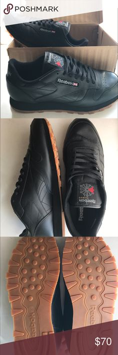 Men's New black  Reebok classic leather sneakers Men's New black Reebok classic leather rubber gum sole sneakers . Size 11.5  , only worn once , new with box . The perfect sneaker ! Selling them because they didn't fit Reebok Shoes Sneakers