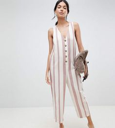 e9a80061e13b ASOS Tall ASOS DESIGN Tall Jumpsuit In Stripe With Horn Button Detail  Horns