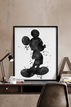 Mickey painting watercolor print Mickey poster by iPrintPoster