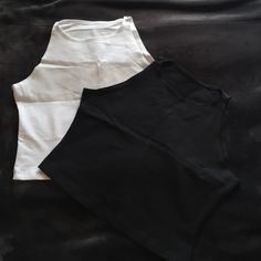 Two Crop Tops NWOT! NWOT! American Apparel cotton spandex sleeveless crop tops, one black one white American Apparel Tops Crop Tops
