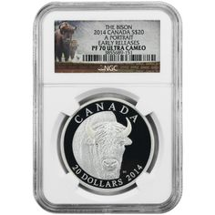 2014 Canada Silver Bison Portrait 1oz PF70 UC ER NGC Bison Label with OGP