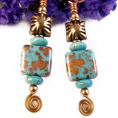 Copper Turquoise Earrings Artsy Czech Glass Square Beads Wire Spirals | PrettyGonzo - Jewelry on ArtFire