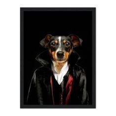 The Vampire: Custom Pet Portrait - A3 / Black Frame