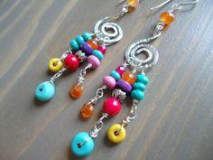 Handforged Sterling Silver Chandelier Earrings, Colorful Gemstones. By BijouxFan