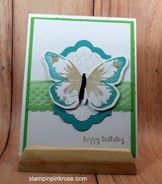 Stampin' Up! Birthday card made with Watercolor Wings stamp set and designed by Demo Pamela Sadler. See more cards at stampinkrose.com #stampinkpinkrose #etsycardstrulyheart