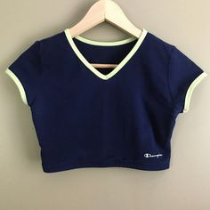55cdce705415 Vintage 90s Champion Brand Navy Green Ringer Cropped Tee ( 44) ❤ liked on  Polyvore