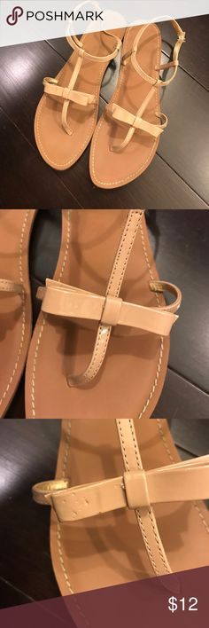 Loft nude bow sandals Adorable faux patent leather Loft sandals with bow detail. These match everything, cute and comfy. There are a few scuff marks and dimples in the leather as noted in pictures, not really noticeable when worn. Tons of life left. LOFT Shoes Sandals