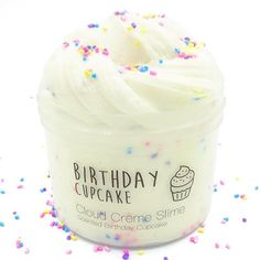 Are you looking for an unique birthday present, or just a super cute slime for yourself? Then Birthday Cupcake is the right choice for you! The combination of a super thick, holdable, sizzly cloud cre Slimy Slime, Food Slime, Fruit Slime, Slime Names, Etsy Slime, Creme Cupcake, Birthday Cupcakes, Ladybug Cupcakes, Kitty Cupcakes