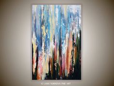 Ikat-Inspired Abstract Painting on Canvas 24 x 36 by Lana Yurinova. $159.00, via Etsy.