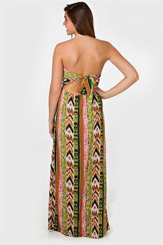Flip For Print Maxi Dress - Green