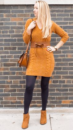 """Camel Dress: 3 Ways to Style a Sweater Dress -  As first seen on blog """"Style by Joules"""" here: Camel Dress: 3 Ways to Style a Sweater Dress  She is wearing tights similar here: HUE Super Opaque Tights Strut your stuff with a new neutral. HUE's super opaque tights add a splash of muted color to any look.  #tights #pantyhose #hosiery #nylons #tightslover #pantyhoselover #nylonlover #legs"""