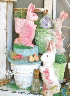 Vintage Easter - Paper Mâché Bunnies - Hat Candy Container