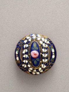 Antique French Enamel Button Pierced w Floral Design