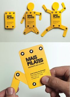 Clever Interactive Kinetic Business Card Design - These cards were designed for a Pilates studio, the owners of the business wanted to convey to peop - Corporate Design, Business Card Design, Direct Mail Design, Name Card Design, Bussiness Card, Leaflet Design, Unique Business Cards, Flyer, Grafik Design