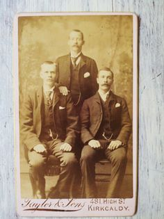 Three Gentlemen from Kirkcaldy CDV Antique Photo by RagtagStudio, $3.50