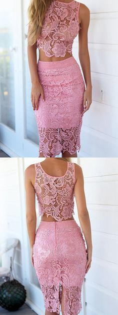 Pink Crochet Lace Sleeveless Crop Top With High Waist Midi Pencil Skirt
