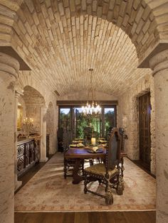 Tuscan dining room with amazing walls and ceiling