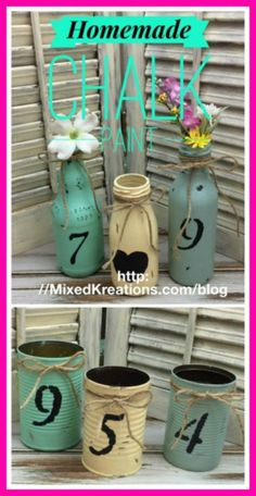 How to make homemade chalk paint | how to repurpose bottles and cans with homemade chalk paint | two ingredient chalk paint found in most homes #HomemadeChalkPaint #Diy #RepurposedCans #UpcycledBottles MixedKreations.com