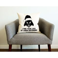 Star Wars Christmas Decor Darth Vader I Find Your Lack of Cheer... ($18) ❤ liked on Polyvore featuring home, home decor, decorative pillows, grey, home & living, home décor, christmas home decor, grey home decor, star wars home decor and gray home decor