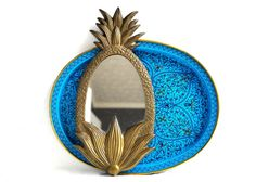 Hey, I found this really awesome Etsy listing at https://www.etsy.com/listing/241172525/vintage-brass-pineapple-mirror