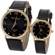Valentine Rosivga Quartz Watch with 4 Roman Numbers and Diamond Squares Indicate Leather Watch Band for Couple - Black, BLACK in Couples Watches Rose Quartz Dress, Couple Watch, Stylish Couple, Lace Dress With Sleeves, Clothing Sites, Leather Watch Bands, Sammy Dress, Watches Online, Quartz Watch
