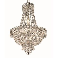 Elegant Lighting Royal Cut Crystal Clear Chrome 16-inch Hanging Fixture - Overstock Shopping - Great Deals on Chandeliers & Pendants