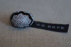 NEW Designer CC SKYE Cracked Pave Egg Ring Crystals