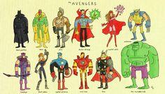 Hawkeye, Black Widow, Cap, Iron Man, Thor, Hulk