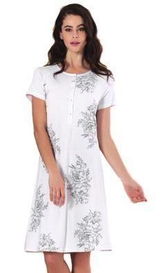 Linclalor Italian Cotton Floral Short Sleeve Nightdress 10 to 26 Grey or Gold Pyjamas, Pjs, Short Sleeves, Short Sleeve Dresses, Floral Shorts, Nightwear, Simple Designs, Soft Fabrics