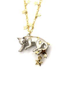 Starry Cat Necklace - Handmade by Palnart Poc - SUDDENLY CAT
