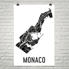 Monaco Wall Map Print - Modern Map Art